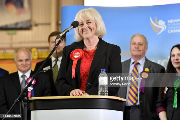 Labour candidate Ruth Jones speaks at the Geraint Thomas National Velodrome of Wales following her victory in the Newport West byelection in Newport...
