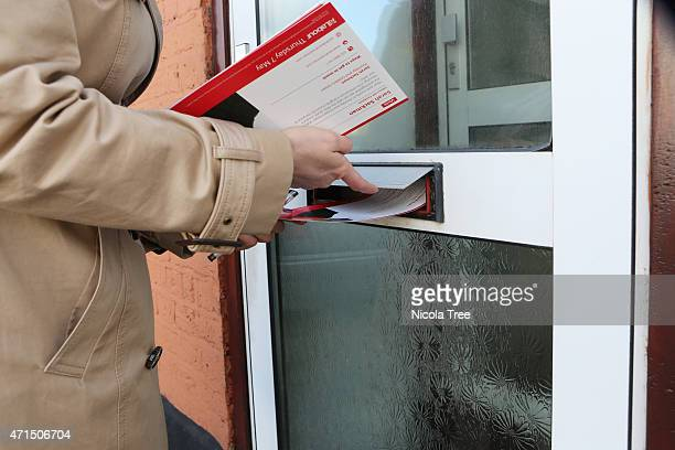 Labour candidate Stella Creasy postes campaign leaflets through voters doors April 19th 2015 in Finchley supporting Labour candidate Sarah Sackman in...