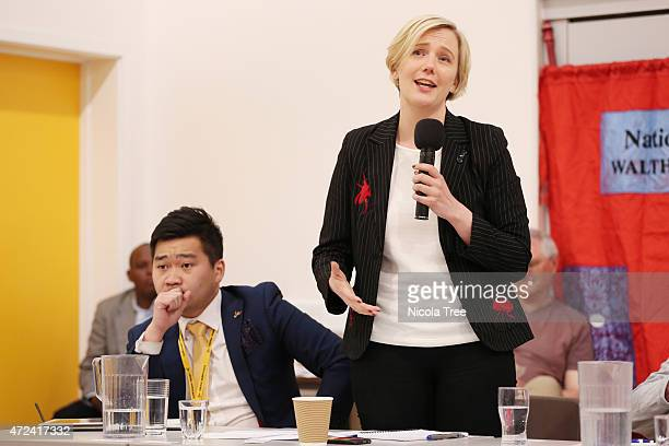 Labour candidate Stella Creasy speaking at Walthamstow School for Girls Hustings with Steven Cheung Liberal democrat candidate on April 22nd 2015...