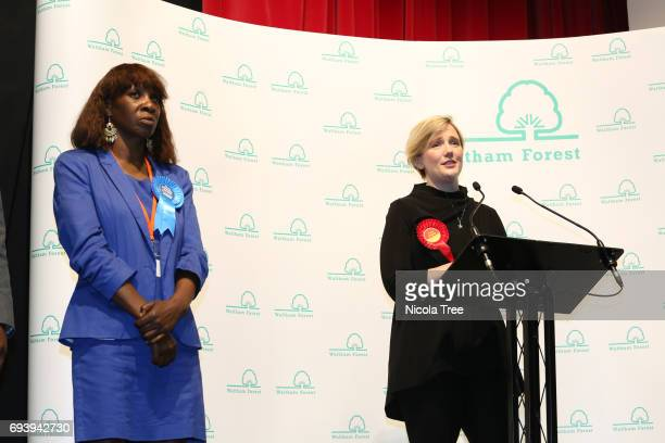 Labour Candidate Stella Creasy speaks after winning with a large majority at the Waltham Forest count on June 8 2017 in London England After a snap...