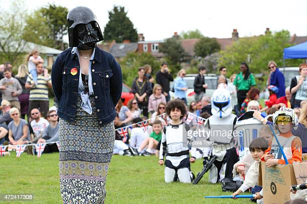 Labour candidate Stella Creasy with a Darth Vadar mask on while judging a Star wars Dress up competition at Lloyd park annual Dog show May 4th 2015...