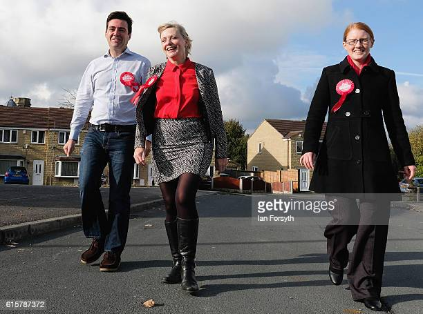 Labour candidate Tracy Brabin is joined by Andy Burnham MP and Holly Lynch MP for Halifax as they canvass in the Heckmondwike area of Batley as...
