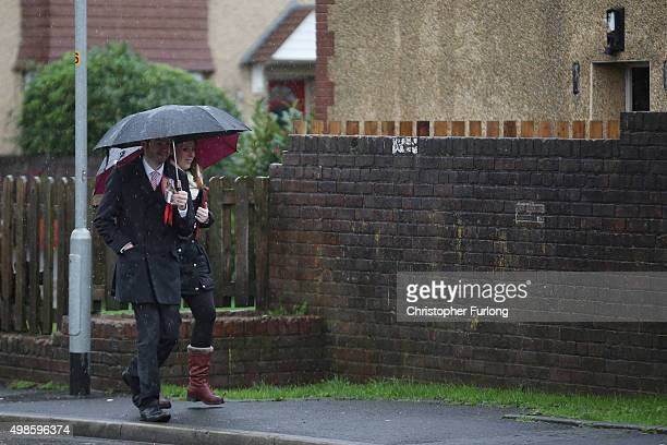 Labour candidiate Jim McMahon and Angela Rayner MP walk the streets of Oldham as they canvass for votes in the Oldham West and Royton byelection on...