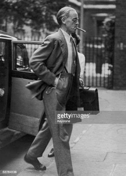 Labour Chancellor of the Exchequer Sir Stafford Cripps arrives for an urgent cabinet meeting at 10 Downing Street 17th August 1947