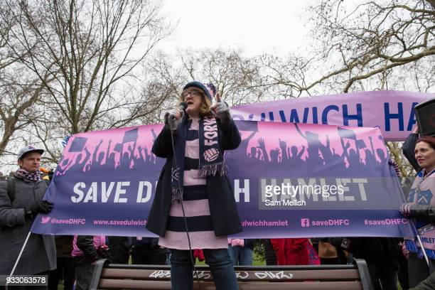 Labour Councillor Catherine Rose speaks to fans and supporters of Dulwich Hamlet Football Club during a protest march from Goose Green to Champion...