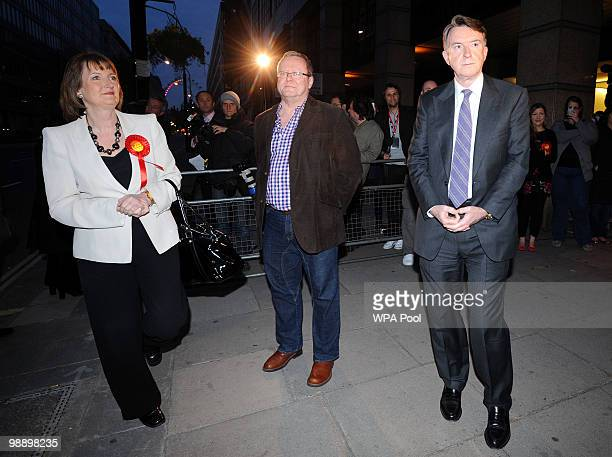 Labour deputy leader Harriet Harman Labour Party General Secretary Ray Collins and Business Secretary Peter Mandelson wait to greet British Prime...