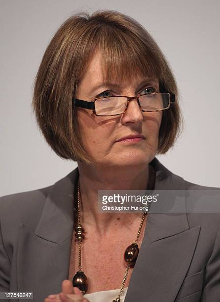 Labour deputy leader Harriet Harman listens to speakers during the Labour party conference at the Echo Arena on September 29 2011 in London England...