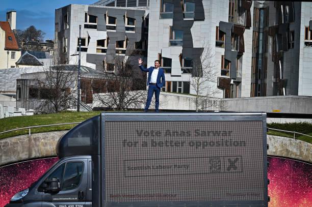 GBR: Scottish Labour Launch Election Campaign Ad Van