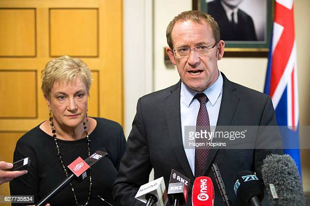 Labour Leader Andrew Little and Deputy Leader Annette King speak to media during a press conference at Parliament on December 5 2016 in Wellington...