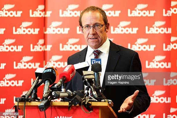 Labour Leader Andrew Little speaks during a press conference at Parliament on November 30 2015 in Wellington New Zealand The new Labour line up will...
