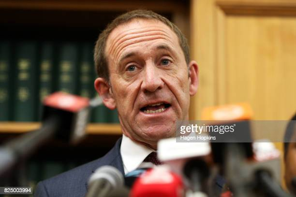 Labour Leader Andrew Little speaks to media during a press conference at Parliament on August 1 2017 in Wellington New Zealand Little has resigned...