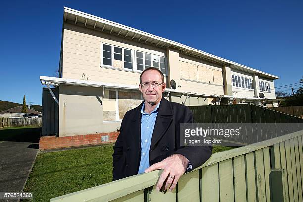 Labour Leader Andrew Little stands in front of an empty state house on July 16 2016 in Lower Hutt New Zealand Rising property prices and rents have...