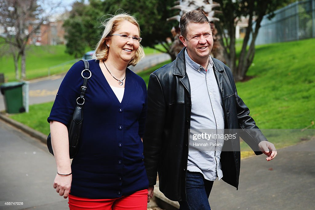 Labour Leader David Cunliffe arrives with his wife Karen Price to watch their sons waterpolo game at Sacred Heart College on September 20, 2014 in Auckland, New Zealand.