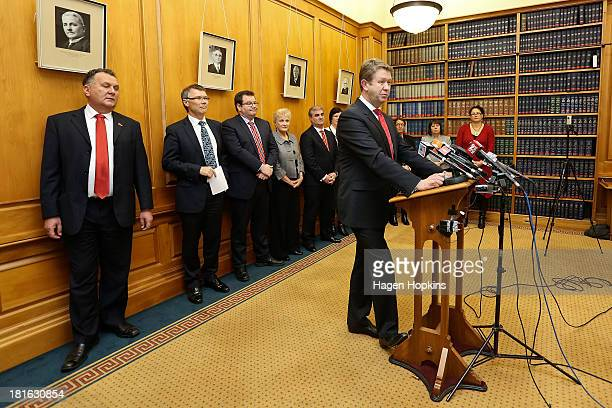 Labour leader David Cunliffe speaks in front of his new shadow cabinet lineup during a press conference at Parliament on September 23 2013 in...