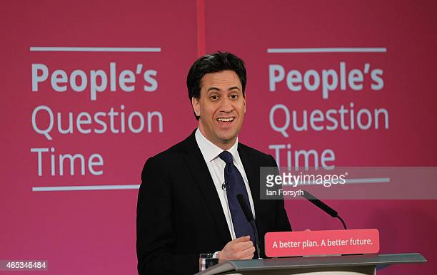 Labour leader Ed Miliband addresses members of the public at Redcar and Cleveland College where he took part in a people's Question Time event on...