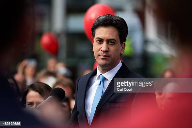Labour leader Ed Miliband addresses supporters during a visit on April 16 2015 to Crouch End London England The Labour leader is continuing to...