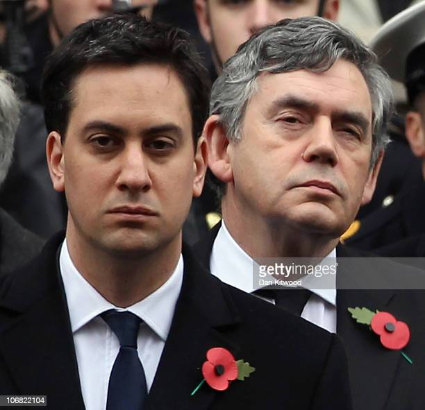 Labour leader Ed Miliband and former Labour leader and former British Primer Minister Gordon Brown prepare to lay their wreaths at the Cenotaph...
