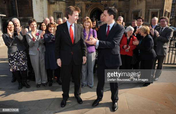 Labour leader Ed Miliband and his shadow cabinet welcome newly elected MP for Barnsley Dan Jarvis to the House of Commons in London