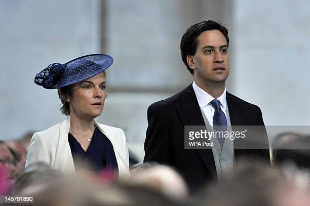 Labour leader Ed Miliband and his wife Justine Thornton arrive for the service of thanksgiving to mark the Queen's Diamond Jubilee at St Paul's...