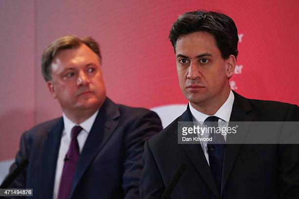 Labour leader Ed Miliband and Labour Shadow Chancellor Ed Balls speak to party members and members of the media during a Labour event on April 29...