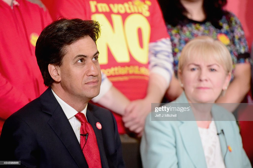 Labour Leader Ed Miliband and Leader of the Scottish Labour Party Johann Lamont are seen during the Scottish Labour Party's independence campaign trail on September 4, 2014 in Blantyre, Scotland. Miliband urged Scots to reject independence in a referendum on the September 18, promising he will win a national election next year and give them the changes they desire.