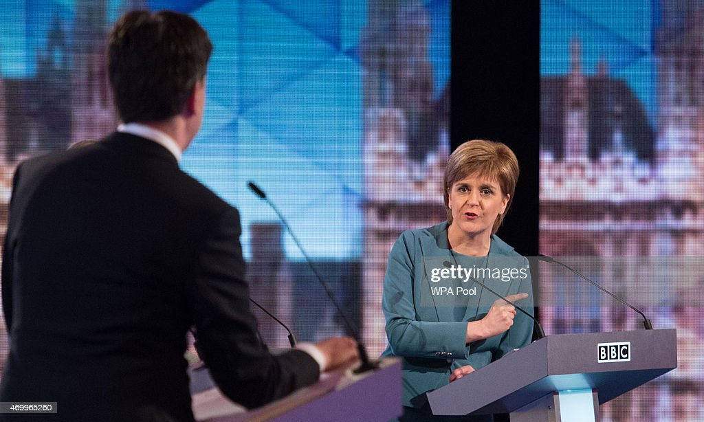 Labour leader Ed Miliband and SNP leader Nicola Sturgeon take part in the Live BBC Election Debate 2015 at Central Hall Westminster on April 16, 2015 in London, England. The leaders of five political parties are taking part in the election debate, without Prime Minister David Cameron and Deputy Prime Minister Nick Clegg. Britain goes to the polls in the General Election on May 7.