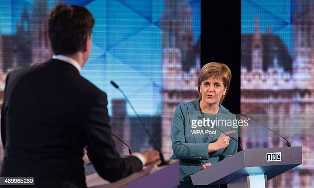 Labour leader Ed Miliband and SNP leader Nicola Sturgeon take part in the Live BBC Election Debate 2015 at Central Hall Westminster on April 16 2015...