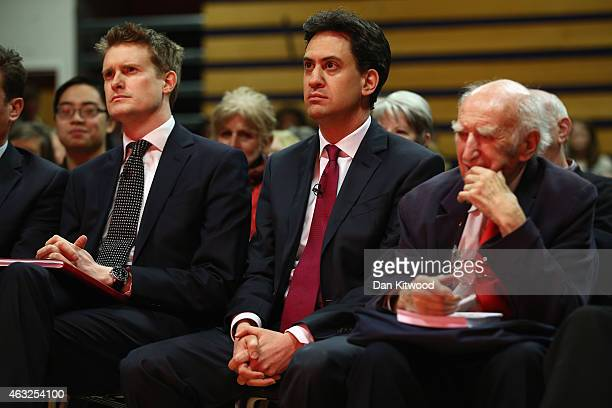 Labour leader Ed Miliband and Tristram Hunt Shadow Secretary of State for Education listen ahead of a speech by the Labour leader at Haverstock...