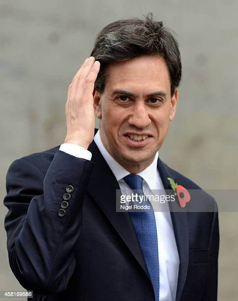 Labour leader Ed Miliband arrives for a meeting with UK council leaders at the Town Hall on October 31 2014 in Manchester England A recent poll has...