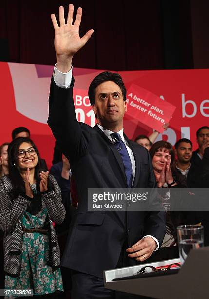Labour leader Ed Miliband attends a campaign rally at the Muni Theatre on May 6 2015 in Colne England Britain's political leaders are campaigning in...