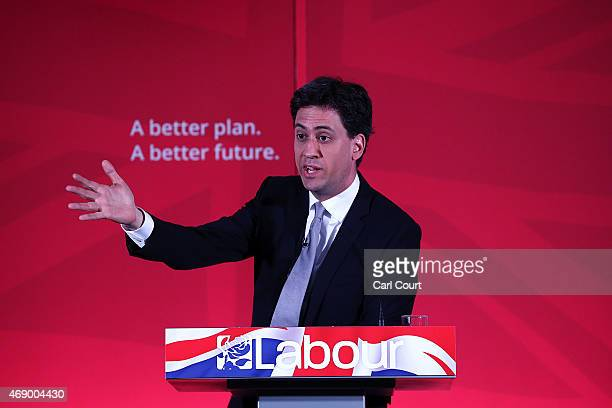 Labour leader Ed Miliband gestures as he launches his party's education manifesto on April 9 2015 in London England The manifesto was launched as the...