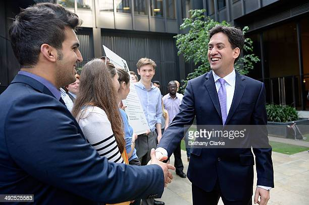 Labour Leader Ed Miliband joins a campaign rally to promote Labour's Cost-Of-Living pledges, on May 21, 2014 in London, England. The rally comes in...