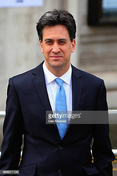 Labour Leader Ed Miliband leaves Methodist Central Hall after paying a short visit ahead of tonight's Live TV debate on April 16 2015 in London...