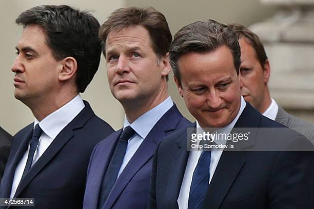 Labour leader Ed Miliband Liberal Democrat leader Nick Clegg and Prime Minister David Cameron attend a tribute at the Cenotaph to begin three days of...