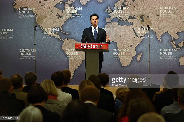 Labour leader Ed Miliband makes a speech on Britain's international role and responsibilities as he campaigns in the run up to the general election...