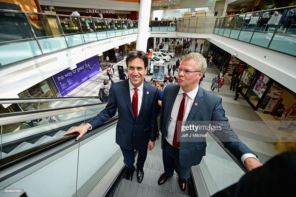 Labour Leader Ed Miliband meets members of the public in East Kilbride shopping centre on the Scottish independence campaign trail on September 4, 2014 in Blantyre, Scotland. Miliband urged Scots to reject independence in a referendum on the September 18, promising he will win a national election next year and give them the changes they desire.
