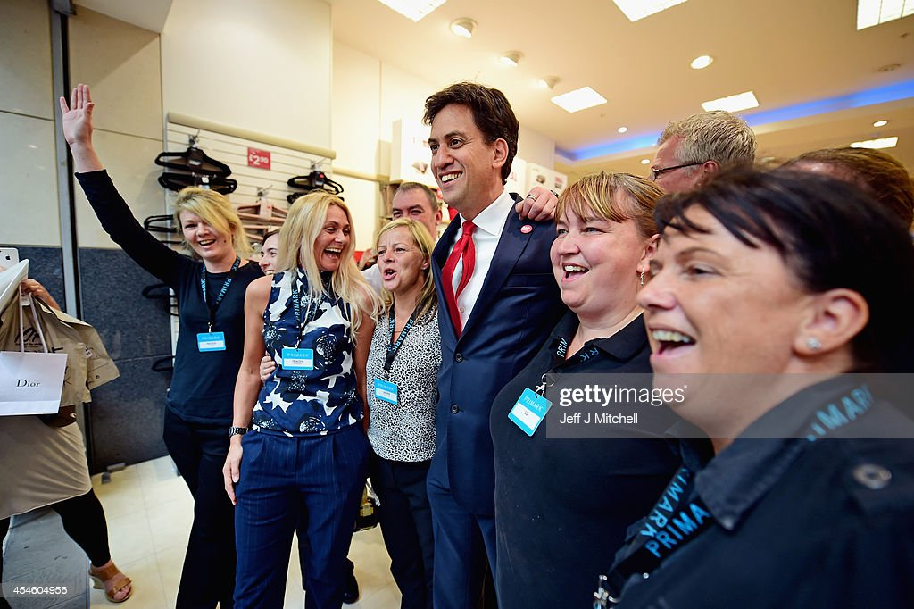 Labour Leader Ed Miliband meets members of the public in East Kilbride shopping centre on the Scottish independence campaign trail on September 4, 2014 in Blantyre, Scotland. Miliband urged Scots to reject independence in a referendum on the 18th of September, promising he will win a national election next year and give them the changes they crave.