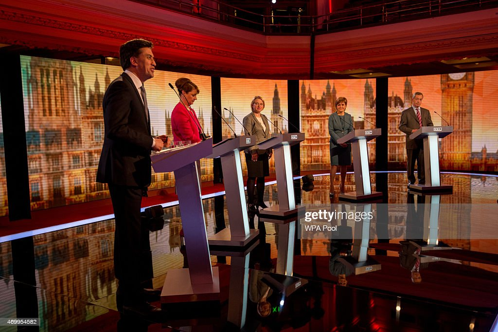 Labour leader Ed Miliband, Plaid Cymru leader Leanne Wood, Green Party Leader Natalie Bennett, SNP leader Nicola Sturgeon and UKIP leader Nigel Farage take part in the Live BBC Election Debate 2015 at Central Hall Westminster on April 16, 2015 in London, England. The leaders of five political parties are taking part in the election debate, without Prime Minister David Cameron and Deputy Prime Minister Nick Clegg. Britain goes to the polls in the General Election on May 7.