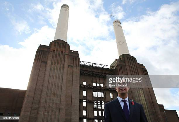 Labour leader Ed Miliband poses in front of the Battersea Power station before speaking to an audience on dealing with the cost of living crisis and...