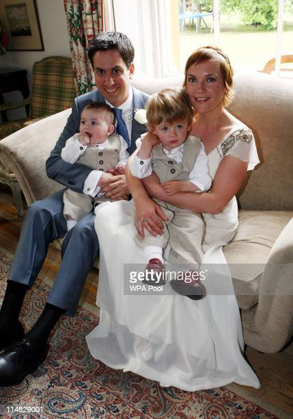 Labour leader Ed Miliband poses with his wife Justine and their children Daniel and Samuel after their wedding at Langar Hall country hotel in...