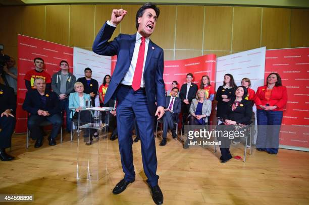 Labour Leader Ed Miliband speaks as he joins the Scottish Labour Party's independence campaign trail on September 4 2014 in Blantyre Scotland...