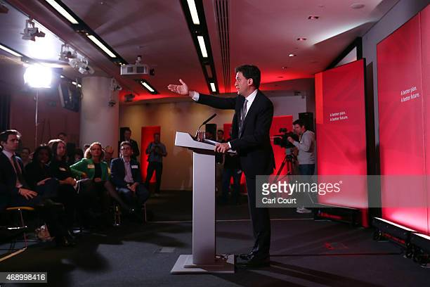 Labour leader Ed Miliband speaks as he launches his party's education manifesto on April 9, 2015 in London, England. The manifesto was launched as...