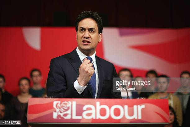 Labour leader Ed Miliband speaks during a campaign rally at the Muni Theatre on May 6 2015 in Colne England Britain's political leaders are...