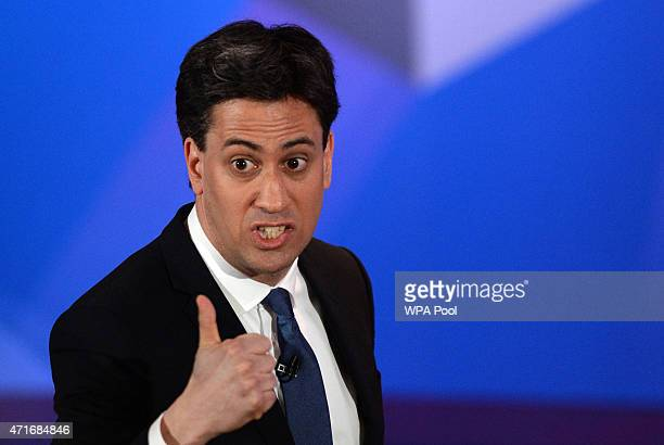 Labour leader Ed Miliband takes part in a special BBC Question Time programme with the three main party leaders appearing separately at Leeds Town...
