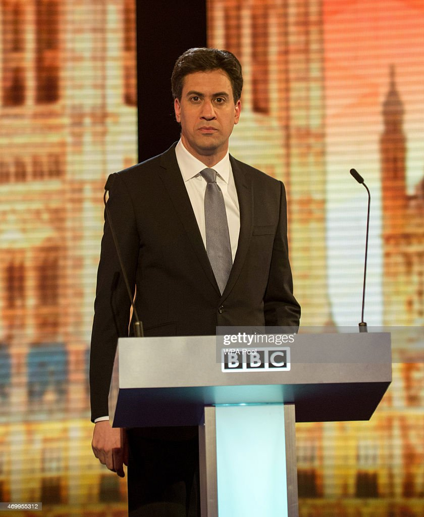 Labour leader Ed Miliband takes part in the Live BBC Election Debate 2015 at Central Hall Westminster on April 16, 2015 in London, England. The leaders of five political parties are taking part in the election debate, without Prime Minister David Cameron and Deputy Prime Minister Nick Clegg. Britain goes to the polls in the General Election on May 7.