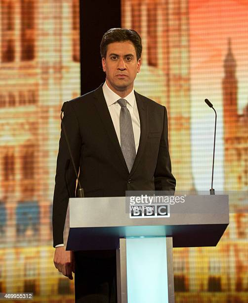 Labour leader Ed Miliband takes part in the Live BBC Election Debate 2015 at Central Hall Westminster on April 16 2015 in London England The leaders...