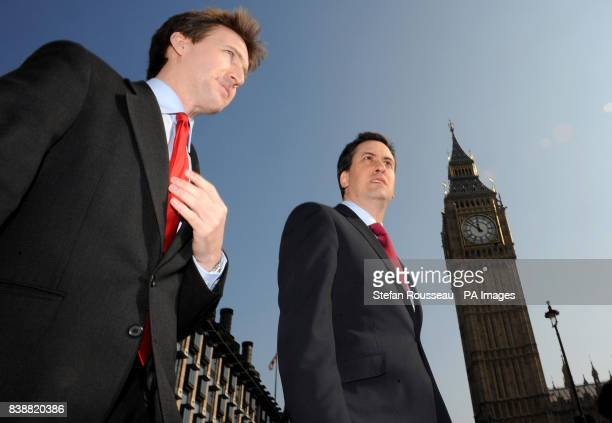 Labour leader Ed Miliband welcomes newly elected MP for Barnsley Dan Jarvis to the House of Commons in London