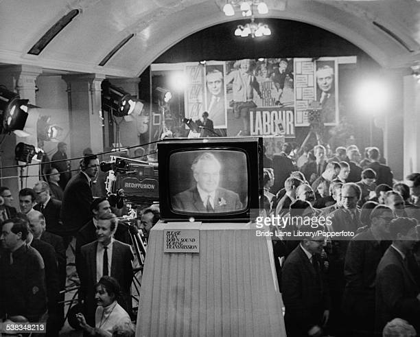 Labour leader Harold Wilson on a telecast at the Labour Party headquarters in Transport House London following the results of the General Election...