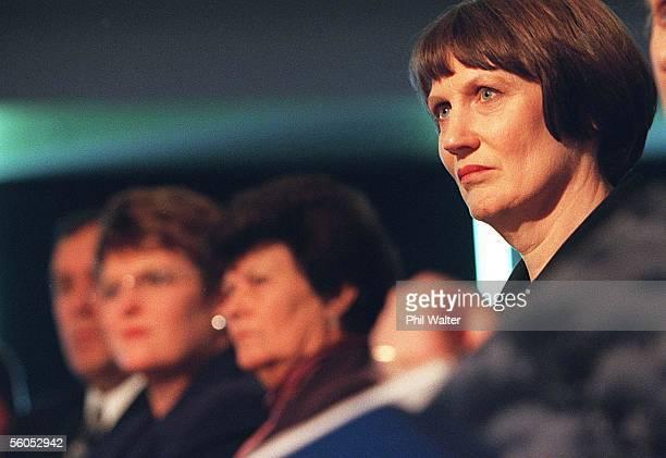 Labour leader Helen Clark during a Auckland Regional Council Transport Forum held at Eden ParkMondayIn the background sits Prime Minister Jenny...