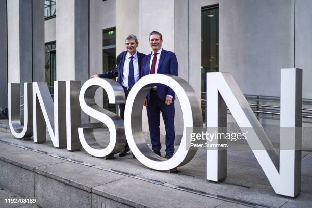 Labour leader hopeful Keir Starmer is greeted by Dave Prentice Unison General Secretary as he arrives at Unison on January 9 2020 in London England...